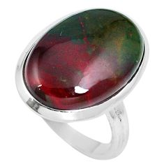 16.20cts natural bloodstone african (heliotrope) 925 silver ring size 9.5 m63754