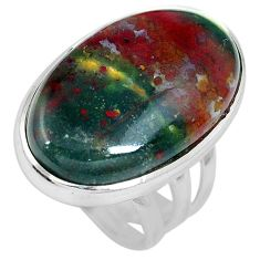 20.65cts natural bloodstone african (heliotrope) 925 silver ring size 6.5 m63755