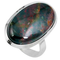 18.68cts natural bloodstone african (heliotrope) 925 silver ring size 8.5 m63756