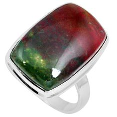 20.65cts natural bloodstone african (heliotrope) 925 silver ring size 10 m63757