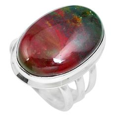20.65cts natural bloodstone african (heliotrope) 925 silver ring size 6.5 m63758