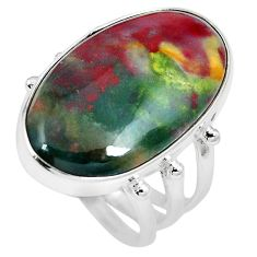 20.07cts natural bloodstone african (heliotrope) 925 silver ring size 8 m63760