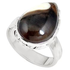 Natural brown peanut petrified wood fossil 925 silver ring size 6.5 m65023