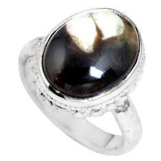 Natural brown peanut petrified wood fossil 925 silver ring size 5 m65027