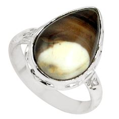 925 silver natural brown peanut petrified wood fossil pear ring size 6.5 m65030