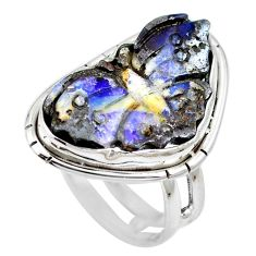 Natural brown boulder opal 925 sterling silver ring size 6.5 m65801