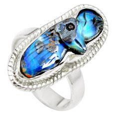 Natural brown boulder opal 925 sterling silver ring size 6.5 m65802