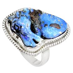 Natural brown boulder opal 925 sterling silver ring size 8 m65803