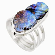 925 sterling silver natural brown boulder opal ring jewelry size 7 m65804