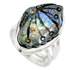 Natural brown boulder opal 925 sterling silver ring size 8 m65805