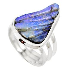 Natural brown boulder opal fancy 925 sterling silver ring size 7 m65806