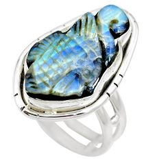 Natural brown boulder opal 925 sterling silver ring size 7 m65807