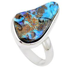 Natural brown boulder opal 925 sterling silver ring size 8 m65808