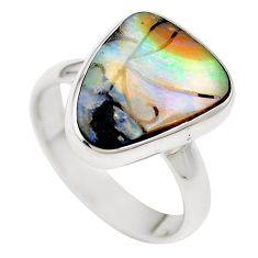Natural brown boulder opal 925 sterling silver ring size 17 m65809