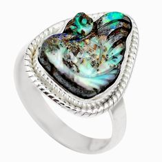 Natural brown boulder opal 925 sterling silver ring size 8 m65810