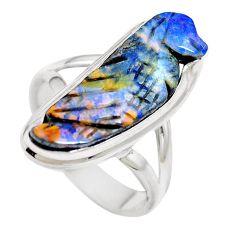 Natural brown boulder opal 925 sterling silver ring size 7 m65812