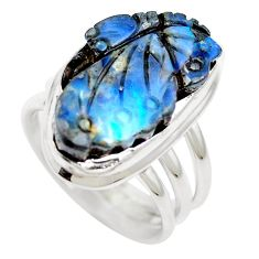 Natural brown boulder opal 925 sterling silver ring size 6.5 m65813
