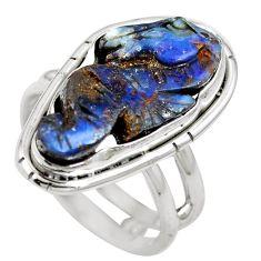Natural brown boulder opal 925 sterling silver ring size 7 m65814