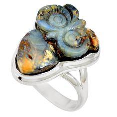 Natural brown boulder opal 925 sterling silver ring size 9 m65816