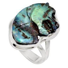 Natural brown boulder opal 925 sterling silver ring size 7 m65817