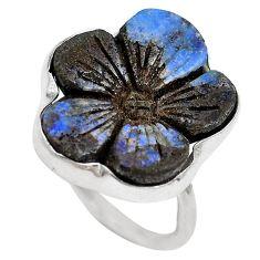 Natural brown boulder opal 925 sterling silver ring size 8.5 m65820