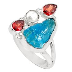 Natural blue apatite rough garnet pearl 925 silver ring size 8 m69037