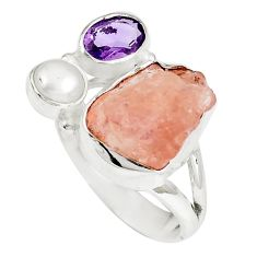 Natural pink morganite rough purple amethyst 925 silver ring size 7 m69043