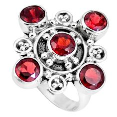 925 sterling silver natural red garnet round shape ring jewelry size 6.5 m69100