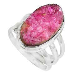 Natural pink cobalt druzy 925 sterling silver ring jewelry size 6.5 m70103