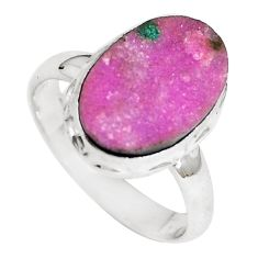 925 sterling silver natural pink cobalt druzy ring jewelry size 8 m70116