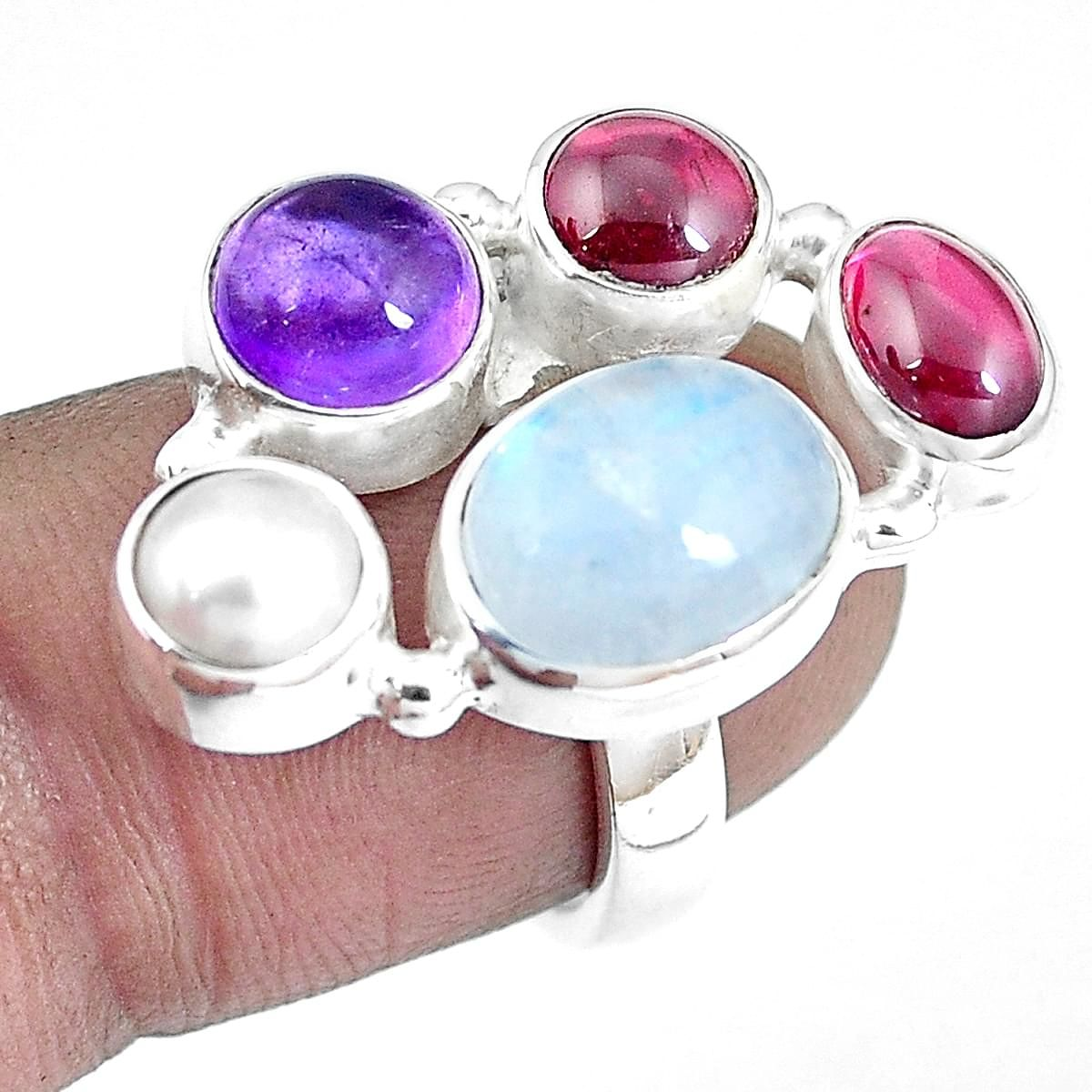 Natural Rainbow Moonstone and Amethyst silver ring