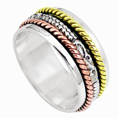 Victorian 925 sterling silver two tone spinner band ring jewelry size 7.5 m71297