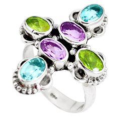 925 silver natural purple amethyst peridot holy cross ring size 6.5 m71512