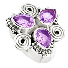 Natural purple amethyst 925 sterling silver ring jewelry size 6 m71541