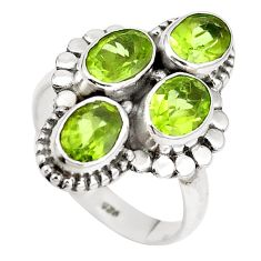 Natural green peridot 925 sterling silver ring jewelry size 6.5 m71607
