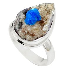 Natural blue cavansite 925 sterling silver ring jewelry size 7 m71962