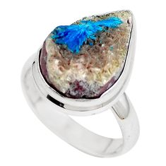 Natural blue cavansite 925 sterling silver ring jewelry size 7 m71963