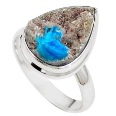 Natural blue cavansite pear 925 sterling silver ring jewelry size 9.5 m71965