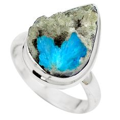 Natural blue cavansite 925 sterling silver ring jewelry size 7.5 m71969