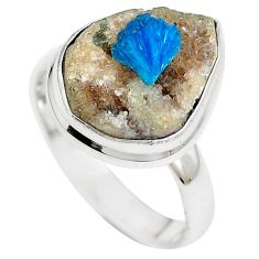 925 sterling silver natural blue cavansite ring jewelry size 9 m71971