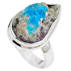 Natural blue cavansite 925 sterling silver ring jewelry size 6 m71973