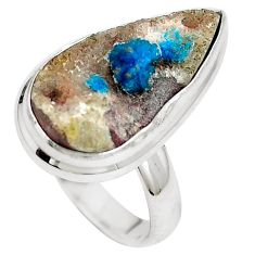 Natural blue cavansite 925 sterling silver ring jewelry size 7 m71976