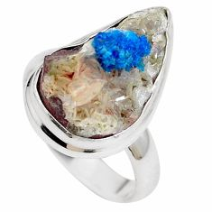 Natural blue cavansite 925 sterling silver ring jewelry size 7 m71978