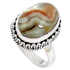 Natural multi color mexican laguna lace agate 925 silver ring size 6.5 m72550