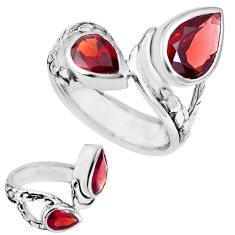 925 sterling silver natural red garnet pear ring jewelry size 6 m73290