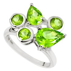 3.91cts natural green peridot 925 sterling silver ring jewelry size 5.5 m73377