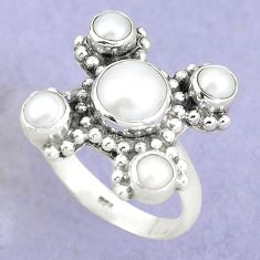 Natural white pearl 925 sterling silver ring jewelry size 8 m73538