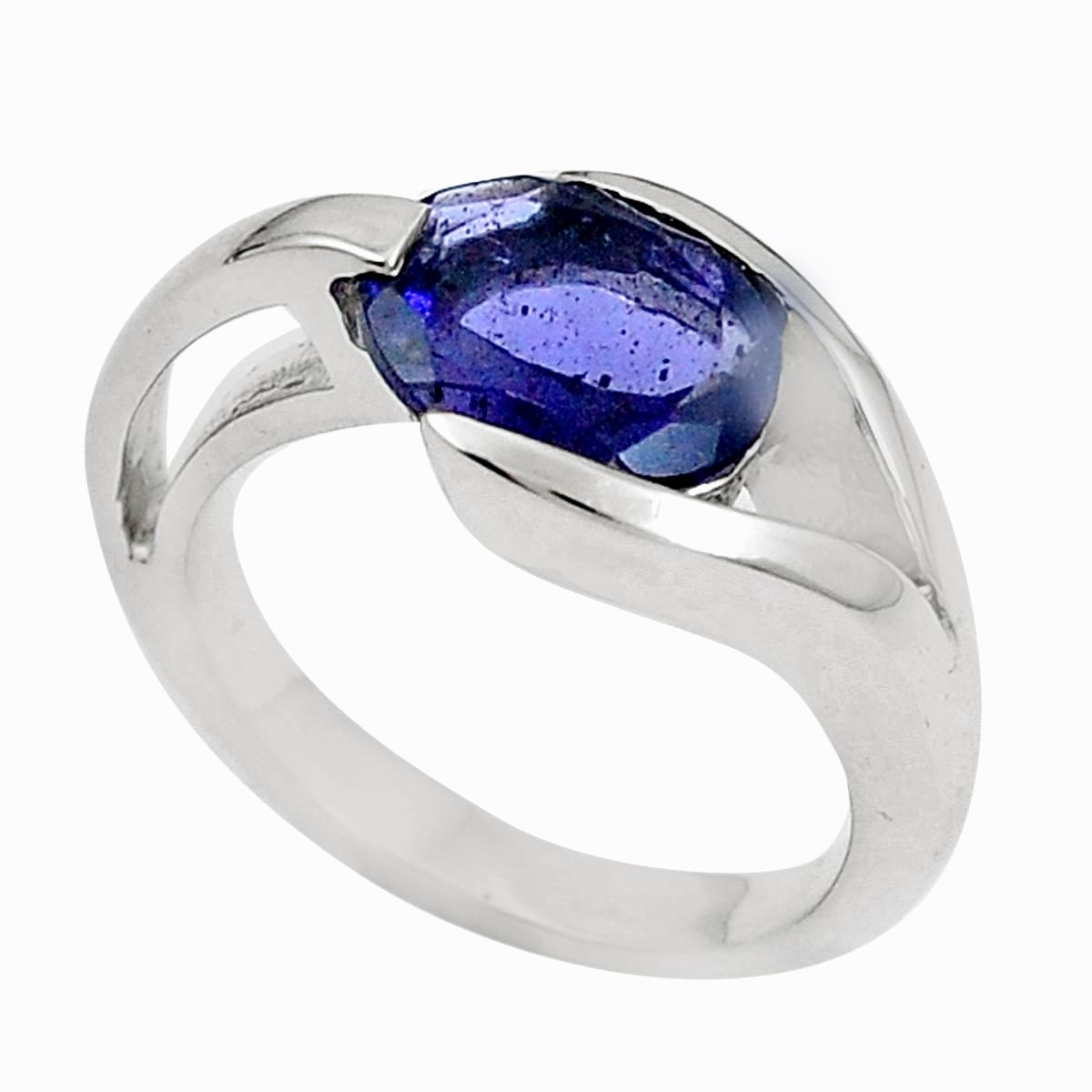 Solid 925 Sterling Silver Two Tone Ring Natural Iolite Gemstone Designer Jewelry Size 10