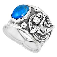 Blue apatite (madagascar) 925 silver cupid love angel wings ring size 8 m74606