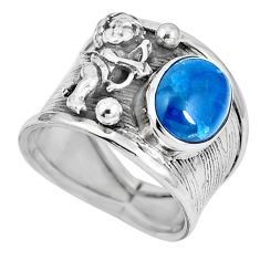 Blue apatite (madagascar) 925 silver cupid love angel wings ring size 7.5 m74614